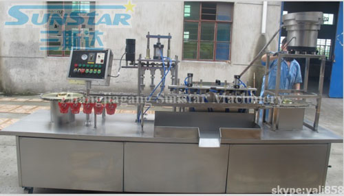 Standing pouch filling and capping machine